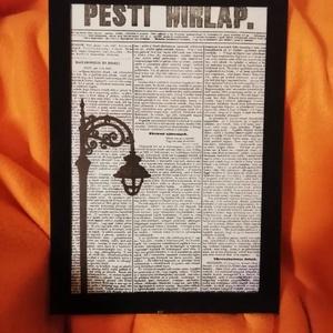 """UTCAI LÁMPA/ FALI KÉP (A/4-es méretű), Kép & Falikép, Dekoráció, Otthon & Lakás, Festett tárgyak, Egykori \""""Pesti Hírlap\"""" napilapra fekete alkoholos filccel rajzolt stilizált UTCAI LÁMPA-figura, feke..., Meska"""
