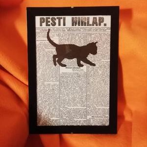 """MACSKA / FALI KÉP (A/4-es méretű), Kép & Falikép, Dekoráció, Otthon & Lakás, Festett tárgyak, Egykori \""""Pesti Hírlap\"""" napilapra fekete alkoholos filccel rajzolt stilizált MACSKA-figura, fekete bá..., Meska"""