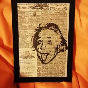 """EINSTEIN / FALI KÉP (A/4-es méretű), Otthon & lakás, Lakberendezés, Képzőművészet, Vegyes technika, Falikép, Festett tárgyak, Egykori \""""The Daily Universal Register\"""" napilapra fekete alkoholos filccel rajzolt stilizált EINSTEIN..., Meska"""