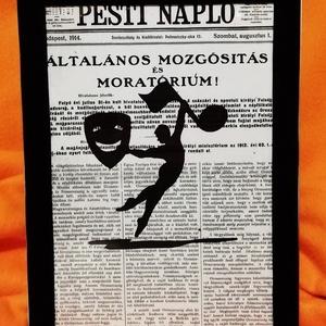 """BALETT - SZÍNHÁZ - ZENE / FALI KÉP (A/4-es méretű), Otthon & Lakás, Dekoráció, Kavics & Kő, Festett tárgyak, Egykori \""""Pesti napló\"""" napilapra fekete alkoholos filccel rajzolt stilizált figura, fekete bársony-ke..., Meska"""