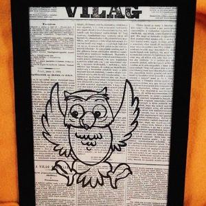 Bagoly / FALI KÉP (A/4-es méretű), Otthon & Lakás, Dekoráció, Kép & Falikép, Festett tárgyak, Egykori Világ napilapra fekete alkoholos filccel rajzolt stilizált bagoly-figura, fekete bársony-ker..., Meska