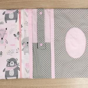 """Utazó pelenkatartó táska \""""rózsaszín-szürke macis nyuszis\"""", Játék & Gyerek, Babalátogató ajándékcsomag, Varrás, Az anyukák kedvenc terméke. Praktikus megoldás ez a mini pelenkázó táska például utazáshoz, sétához ..., Meska"""