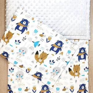 """Bélelt baba takaró + párna szett \""""kék-szürke macis nyuszis\"""" Szürke minky-vel, Játék & Gyerek, 3 éves kor alattiaknak, Varrás, A takaró és a párna is három rétegből áll. A felső réteg 100 % pamutvászon, közte paplanbélés a háto..., Meska"""