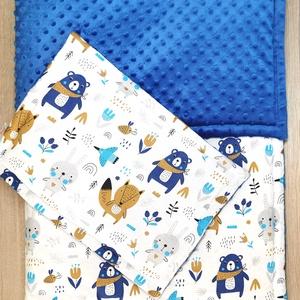 """Bélelt baba takaró + párna szett \""""kék-szürke macis nyuszis\"""" Kék minky-vel, Játék & Gyerek, 3 éves kor alattiaknak, Varrás, A takaró és a párna is három rétegből áll. A felső réteg 100 % pamutvászon, közte paplanbélés a háto..., Meska"""