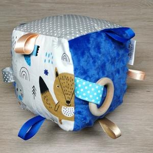 """Babakocka \""""kék-szürke macis nyuszis\"""" kék minky-vel \"""", Játék & Gyerek, 3 éves kor alattiaknak, Babakocka, Varrás, Figyelemfelkeltő és készségfejlesztő babakocka ami fejleszti a finom motorikát, látást, hallást szem..., Meska"""