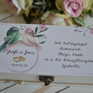 Pénzátadó doboz esküvőre/eljegyzésre/nászajándéknak, Esküvő, Nászajándék, Emlék & Ajándék, Ez a dobozka, 100%-ban kézműves termék, Az alapját asztalos készítette és saját elképzelésem alapján..., Meska