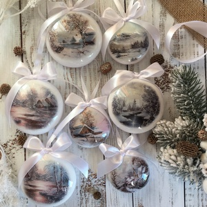 Karácsonyfa dísz szett - Tájkép, Otthon & Lakás, Karácsony & Mikulás, Karácsonyfadísz, Decoupage, transzfer és szalvétatechnika, Szeretnéd feldobni a karácsonyi dekorációt egy igazán egyedi szettel? Ez az egyik karácsonyfadísz ös..., Meska