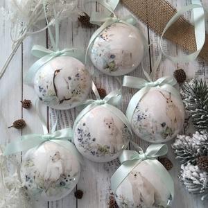 Karácsonyfa dísz szett - állatos, Otthon & Lakás, Karácsony & Mikulás, Karácsonyfadísz, Decoupage, transzfer és szalvétatechnika, Szeretnéd feldobni a karácsonyi dekorációt egy igazán egyedi szettel? Ez az egyik karácsonyfa dísz ö..., Meska