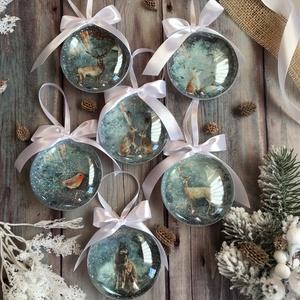 Karácsonyfadísz szett - Állatos, Otthon & Lakás, Karácsony & Mikulás, Karácsonyfadísz, Decoupage, transzfer és szalvétatechnika, Szeretnéd feldobni a karácsonyi dekorációt egy igazán egyedi szettel? Ez az egyik karácsonyfa dísz ö..., Meska