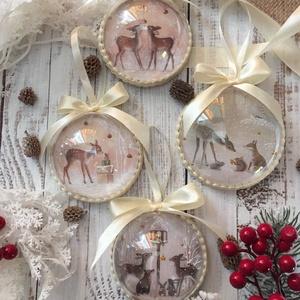 Karácsonyfadísz szett - Erdei állatok, őzikék, Otthon & Lakás, Karácsony & Mikulás, Karácsonyfadísz, Decoupage, transzfer és szalvétatechnika, Szeretnéd feldobni a karácsonyi dekorációt egy igazán egyedi szettel? Ez az egyik karácsonyfadísz ös..., Meska