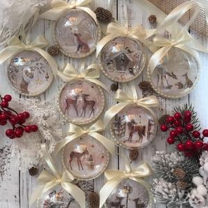 Karácsonyfadísz szett - Erdei állatok: őzikék, nyuszik, rókák, madarak; póni, Otthon & Lakás, Karácsony & Mikulás, Karácsonyfadísz, Decoupage, transzfer és szalvétatechnika, Szeretnéd feldobni a karácsonyi dekorációt egy igazán egyedi szettel? Ez az egyik karácsonyfa dísz ö..., Meska