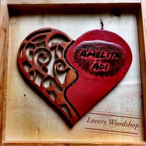 Hímzett szív nem csak szerelemből, Otthon & Lakás, Dekoráció, Dísztárgy, Famegmunkálás, Festett tárgyak, Két név egy szív, vagy két szív egy dobbanás! \nEme ajándékkal hatalmas sikert értem el, már ha siker..., Meska