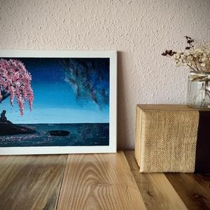 Modern, csillagos, rózsaszín elmélkedős kép 40x30, Otthon & lakás, Dekoráció, Kép, Képzőművészet, Festmény, Akril, Lakberendezés, Falikép, Festészet, Modernebb hangulatú képet keresel, amelyik feldobja a szobafalat, akkor szerintem ez tetszeni fog ne..., Meska