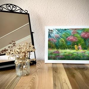 Szerelmes pár az erdőnél... Kézzel festett akril falikép 40x30, Otthon & lakás, Dekoráció, Kép, Képzőművészet, Festmény, Akril, Lakberendezés, Falikép, Festészet, Kedves, aranyos, szép, megfogó... Olyan kellemes érzés ránézni erre a képre. Sugárzik a szerelem és ..., Meska
