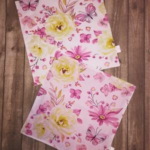 Textilszalvéta, újraszalvéta, 2 darab, pillangós, virágos minta