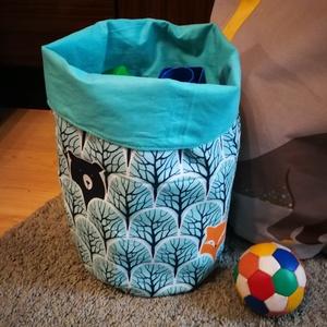 Textil tároló- más mintával is, Játéktároló, Tárolás & Rendszerezés, Otthon & Lakás, Varrás, Textil tárolókosár játékoknak, zokninak, krumplinak... A két réteg között béléssel merevítve, így fo..., Meska