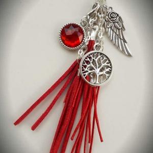Piros életfa ékszerszett (nyaklánc + karkötő), Ékszer, Ékszerszett, Karkötő, Nyaklánc, Ékszerkészítés, Ez a piros hosszú láncos nyaklánc és a karkötő, egyedi megjelenést kölcsönöz viselőjének, mivel sajá..., Meska