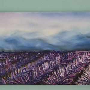 Levendulás olajkép, Művészet, Festmény, Olajfestmény, Festészet, Sajátkészítésű, 60×30cm-es vászonra festett  relaxációs tájkép. Levendulamezőt ábrázol. A kölönböző ..., Meska