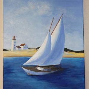 Hazatérés - akril festmény, Művészet, Festmény, Akril, Festészet, Akril festmény, mérete 50x70 cm. A festmény feszített vászonra készült, amelynek az oldala is festve..., Meska