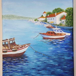 Kikötő - akril festmény, Művészet, Festmény, Akril, Festészet, Akril festmény, mérete 40x50 cm. A festmény feszített vászonra készült, amelynek az oldala is festve..., Meska