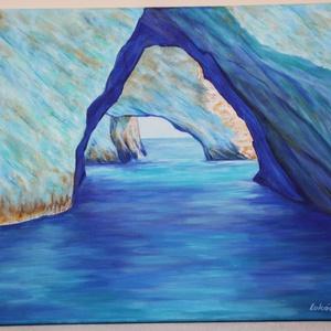 Kék barlangok - akril festmény, Művészet, Festmény, Akril, Festészet, Akril festmény, mérete 50x40 cm. A festmény feszített vászonra készült, amelynek az oldala is festve..., Meska