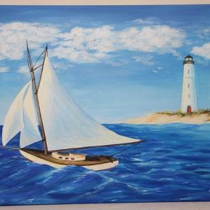 Kihajózás - akril festmény, Művészet, Festmény, Akril, Festészet, Akril festmény, mérete 70x50 cm. A festmény feszített vászonra készült, amelynek az oldala is festve..., Meska