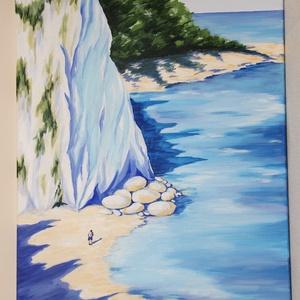 Sziklás part - akril festmény, Művészet, Festmény, Akril, Festészet, Akril festmény, mérete 50x70 cm. A festmény feszített vászonra készült, amelynek az oldala is festve..., Meska