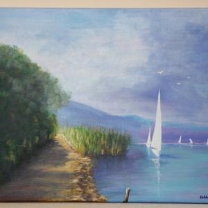 Balatoni délután - akril festmény, Művészet, Festmény, Akril, Festészet, Akril festmény, mérete 50x40 cm. A festmény feszített vászonra készült, amelynek az oldala is festve..., Meska