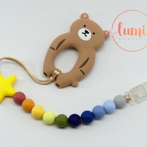 Maci 2in1 cumi- és rágcsalánc - Sárga/zöld/kék, Játék & Gyerek, 3 éves kor alattiaknak, Cumilánc, Ékszerkészítés, Gyöngyfűzés, gyöngyhímzés, Sárga - zöld - kék színekből összeállított szilikon rágcsalánc, melyet cumiláncként is használhattok..., Meska