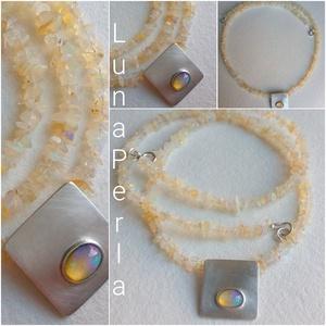 Opál nyaklánc, Ékszer, Nyaklánc, Medálos nyaklánc, Ékszerkészítés, Ötvös, 3-5 mm-es opállal készítettem a nyakláncot, ezüst szerelékkel.\nAz ezüst medál 16 mm, a kő mérete 6x4..., Meska