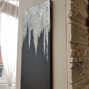 Csillogó akril festmény, Dekoráció, Otthon & lakás, Kép, Festészet, Glitter akril modern festmény. Sötét tónus ötvözve csillogó arany/ezüst jégcsapokkal.\nMerete:20×50 c..., Meska