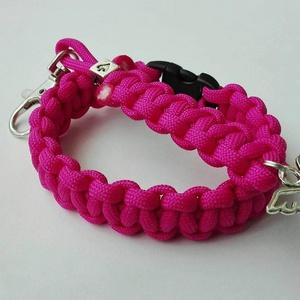 Pink dream, Ékszer, Ékszerszett, Csomózás, Rózsaszín színű, cobra mintával készült paracord karkötő és angyalkás kulcstartó. Karkötő belső ker..., Meska