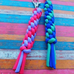 Summer dream , Mindenmás, Kulcstartó, Csomózás, Paracord kulcstartópár nyári színekben. Hossza: 11 cm, Meska