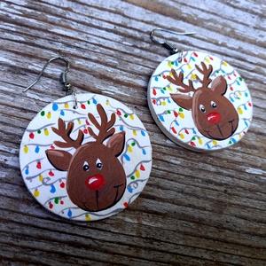 Karácsonyi fülbevaló-Rudolph - Meska.hu
