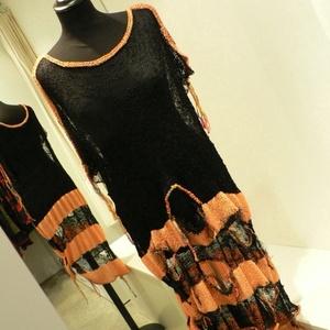 Narancs -fekete  lukacsos  pulóver, Ruha & Divat, Pulóver & Kardigán, Női ruha, Kötés, Meska