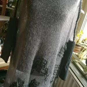 Szürke mintás mohair pulóver - ruha & divat - női ruha - pulóver & kardigán - Meska.hu