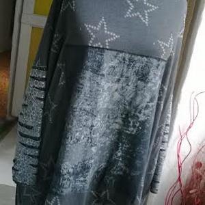 Csillag  mintás  felső, Tunika, Női ruha, Ruha & Divat, Varrás, Háromféle anyag kombinációjával készült ez az egyedi lezser szabású tunika. Elejét rátét díszíti,ujj..., Meska