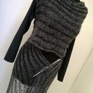 Szürke mohair kabát, Táska, Divat & Szépség, Női ruha, Ruha, divat, Kabát, Kötés, Gépi kötéssel készítettem ezt a variálható kardigánt.Az ujja  textilbőrből van. Mérete S-es M-es..., Meska