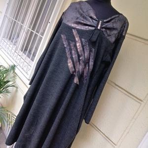 Bronzszinű mintás anyaggal kombinált tunika, Tunika, Női ruha, Ruha & Divat, Varrás, Kétféle jersey anyag kombinációjával készitettem ezt a csónaknyakú tunikát.Ünnepek közeledtével kell..., Meska