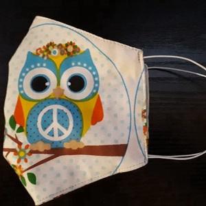 Baglyos arcmaszk - többször használatos - két réteg tiszta pamut anyagból készült - beleszabott mintapapírral (Macka) - Meska.hu