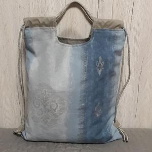 Ezüsttel festett színátmenetes vastag dekorvászon hátiszatyor, tornazsák, gymbag (Macka) - Meska.hu