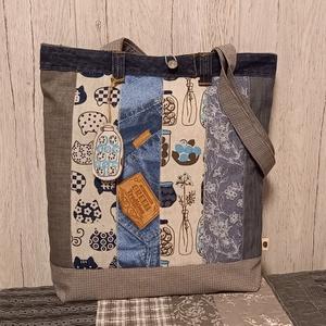 A kék 50 árnyalata :) szatyor, ökotáska, válltáska, Táska & Tok, Bevásárlás & Shopper táska, Shopper, textiltáska, szatyor, Varrás, Ez az egyszerű vonalú, 40X44 cm nagyságú, 8 cm talpszélességű  szatyor igazi romantikus hangulatban ..., Meska
