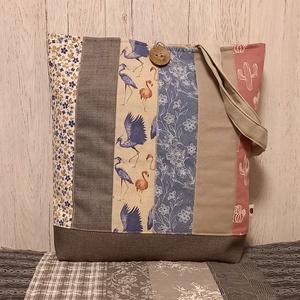 Kék-rózsaszín egyveleg szatyor, ökotáska, válltáska, Táska & Tok, Bevásárlás & Shopper táska, Shopper, textiltáska, szatyor, Varrás, Ez az egyszerű vonalú, 40X44 cm nagyságú, 8 cm talpszélességű  szatyor igazi romantikus hangulatban ..., Meska