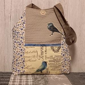 Kék madárkák) szatyor, ökotáska, válltáska, Táska & Tok, Bevásárlás & Shopper táska, Shopper, textiltáska, szatyor, Varrás, Ez az egyszerű vonalú, 39X44 cm nagyságú, 8 cm talpszélességű  szatyor igazi nyári hangulatban készü..., Meska