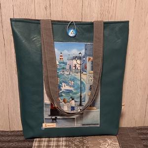 Tengerparti életkép :) szatyor, ökotáska, válltáska, Táska & Tok, Bevásárlás & Shopper táska, Shopper, textiltáska, szatyor, Varrás, Ez az egyszerű vonalú, 40X44 cm nagyságú, 8 cm talpszélességű  szatyor igazi nyári hangulatban készü..., Meska