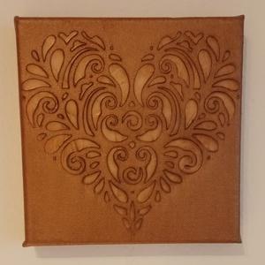 Bronz 3D szív, Otthon & Lakás, Dekoráció, Kép & Falikép, Festészet, 3D technikával vászonra festett gyönyörű szív.\nBronz pasztával festve, végül lakkozva.\nMérete: 15×15..., Meska