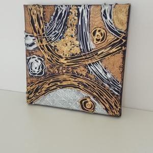 Metál 3D absztrakt, Otthon & Lakás, Dekoráció, Kép & Falikép, Festészet, 3D technikával festett absztrakt arany, ezüst és bronz színekben sötétkék alapon. Vászonkép.\nMérete:..., Meska