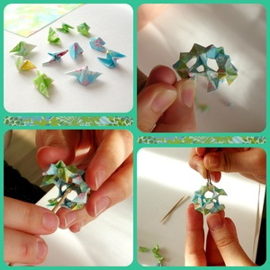 Haru - Origami fülbevaló csiszolt gyöngyökkel, Ékszer, Fülbevaló, Ékszerkészítés, Papírművészet, Origami fülbevaló, türkizkék - világoszöld eredeti japán origami papírból hajtogatva.\n\nA gömb belsej..., Meska