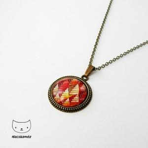 Őszi színkavalkád üveglencsés nyaklánc, piros narancs barna színpompa (Macskameez) - Meska.hu