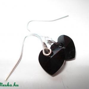 NO POSTA! 2 pár Swarovski szív fülbevaló - crystal AB és jet (madaikati) - Meska.hu